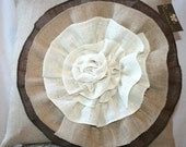 Burlap pillow with 3 color flower 20x20