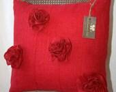 Red burlap pillow case 18x18