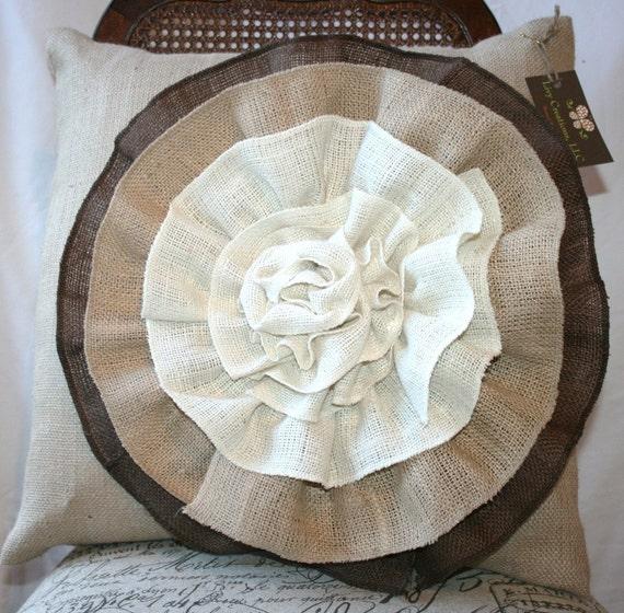 Custom Burlap pillow with 3 color flower 20x20