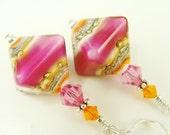 Orange Lampwork Earrings, Glass Bead Earrings, Fuchsia Pink Earrings, Lampwork Jewelry, Glass Bead Jewelry, Beadwork Earrings