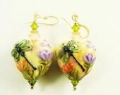 Dragonfly Lampwork Earrings, Glass Bead Earrings, Heart Beadwork Earrings, Valentine Green Peach Earrings, 14K Gold Filled Lampwork Jewelry