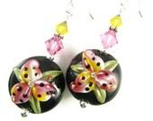 Glass Bead Earrings, Floral Lampwork Earrings, Yellow Dangle Earrings, Pink Lily Lampwork Jewelry, Black Beaded Earrings, Flower Earrings