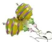 Yellow Lampwork Earrings, Glass Bead Jewelry, Dangle Drop Earrings, Glass Beaded Earrings, Beadwork Stripe Earrings, Lampwork Jewelry