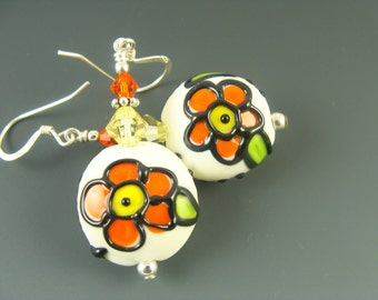 Orange Lampwork Earrings, Yellow Glass Bead Earrings, Glass Bead Jewelry, Flower Beaded Earrings, Lampwork Jewelry, Beadwork Earrings.