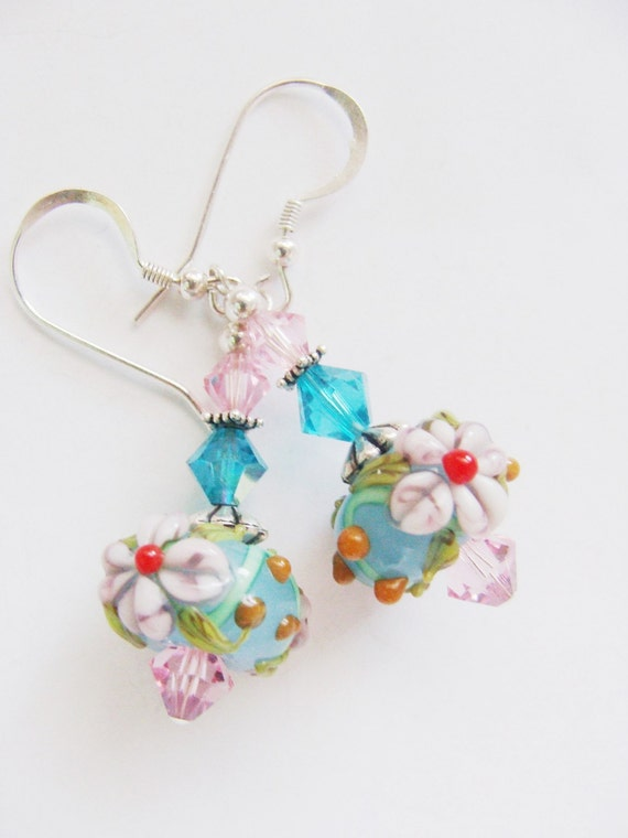 Aqua Pink Lampwork Earrings, Aqua Earrings, Pink Flower Earrings, Pastel Earrings - Pastel Garden