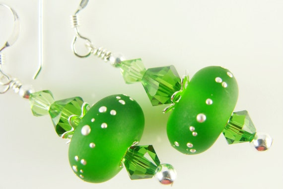 Fern Green Lampwork Glass Bead Earrings, Silvered Bright Color Jewelry