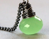 Chalcedony and Oxidized Silver Necklace, Lime Ice