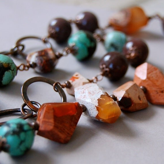 Mexican Fire Opal, Turquoise and Aged Copper Necklace