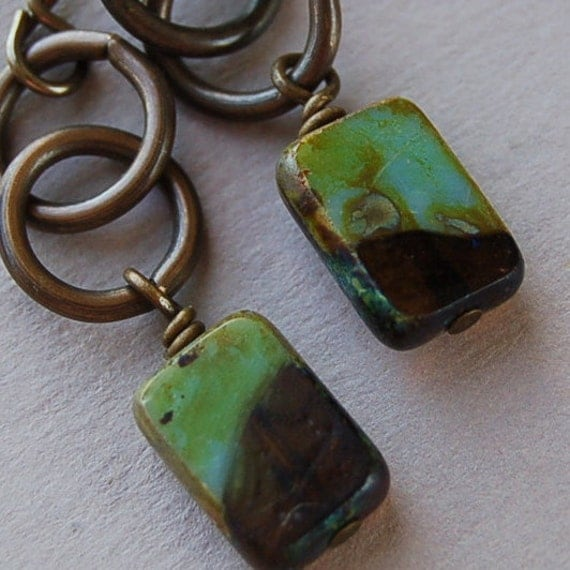 Chain and Glass Earrings:  Tuscan Tiles