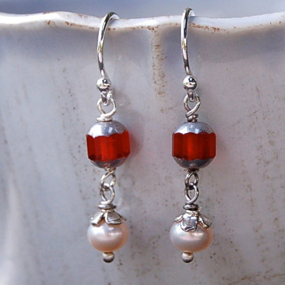 Pearl and Silvered Glass Earrings