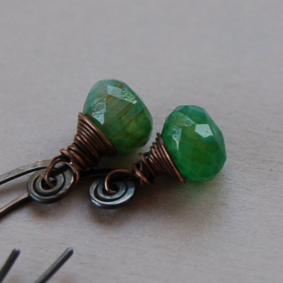 Green Chalcedony and Copper Earrings