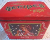 Vintage COKE RECIPE Tin Container Coca Cola Pop Red Black Americana Advertising