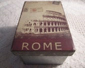 Vintage ROME ITALY Coliseum Tin Container Box Silver Cream Brown Travel