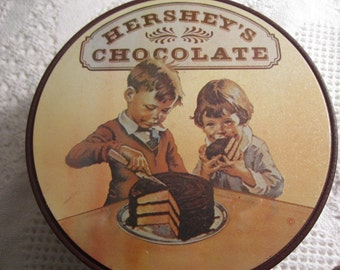 Vintage HERSHEY CHOCOLATE Tin Container 1960s Candy Brown Americana Advertising