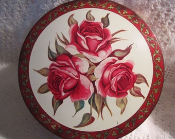 Vintage RED ROSE 1950s Tin Container Candies Red Pink Cream Gold Olive Can Chicago Collectible