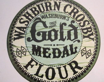 Large GOLD MEDAL Flour Tin Container Washburn Crosby Co White Americana Advertising