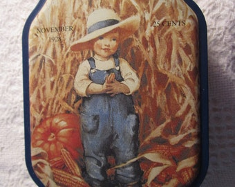 Vintage Autumn Good Housekeeping Tin Container with 1928 Advertising Collectible Pumpkin