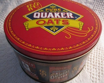 Vintage QUAKER OATS Tin Container Limited Edition 1983 Red White Blue Gold Americana Advertising