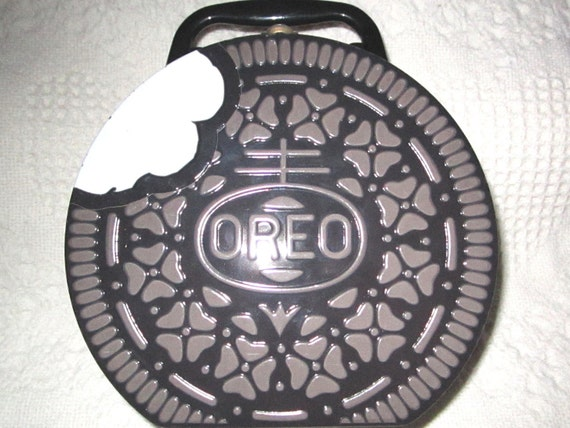 Vintage Oreo Cookie Tin Container Lunch Box With Handle And
