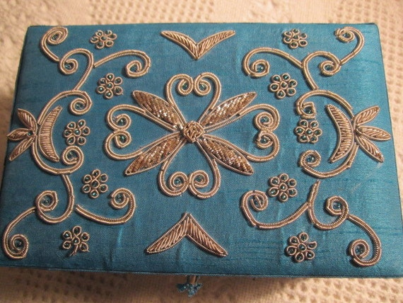 Vintage SILVER BEADED Teal Jewelry Box Embroidery Flowers So Pretty