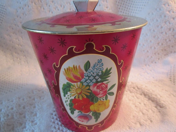 Vintage 1960s ENGLAND FLOWER Tin Container with Knob Ornate Beautiful Maroon Burgandy