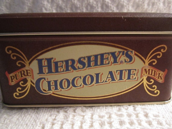 Vintage HERSHEY MILK Chocolate Tin Container with Victorian Couple Brown Cream Americana Advertising