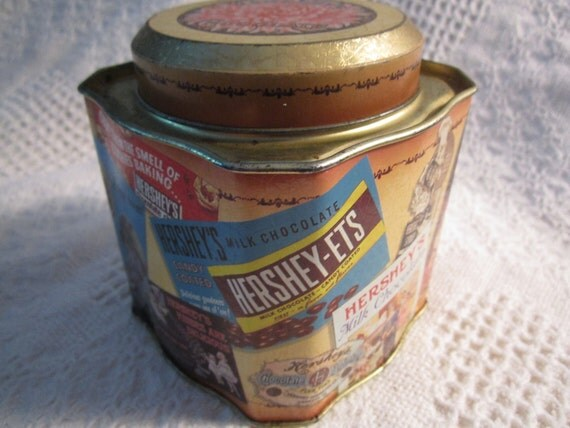 Vintage HERSHEY Tin Chocolate Candy Blue Gold Red With Ads All Over Collectible Americana Advertising