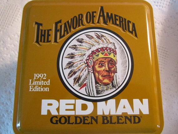 Vintage RED MAN Chewing Tobacco Tin Container Gold Indian Limited Edition Americana Advertising