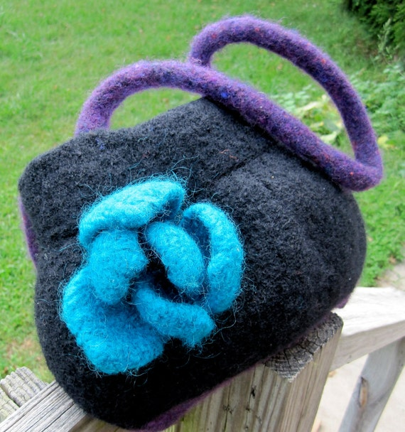 The Acala - felted hand knit purse