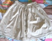 """natural beige button front gathered skirt 28"""" waist- ready to ship"""