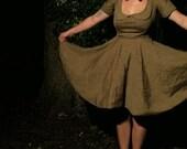 autumnal dress with peter pan collar-  brown linen