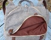 Tweed 3way Backpack Attache Messenger Laptop Bag-mens diaper bag- custom order-