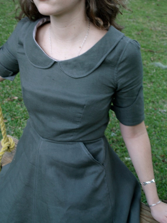 soot grey linen dress with peter pan collar- made to measure