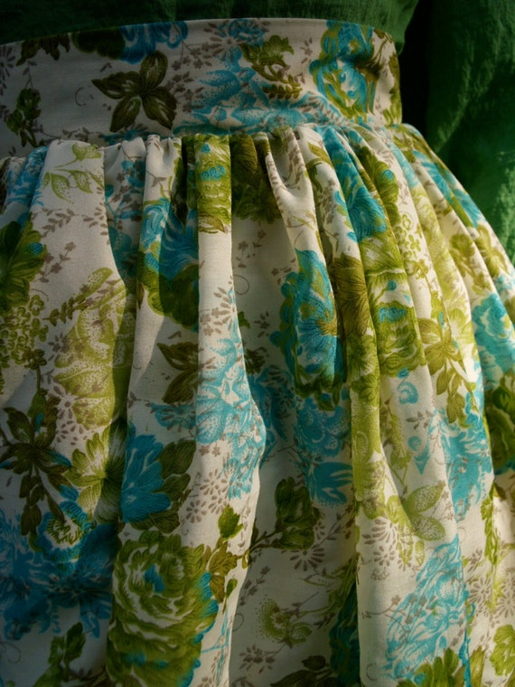 RESERVED for EVA Green and Blue floral cotton Picnic skirt with pockets and eyelet lace petticoat