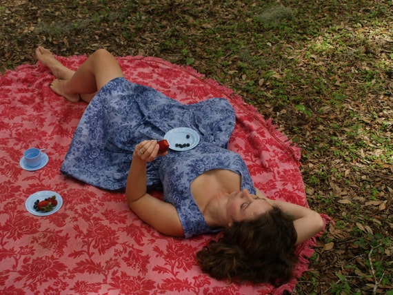 Cotton Picnic dress- Custom to your measurements- button back gathered skirt scoop neck