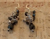 Dress it up - black Swarovski  crystals and sterling silver dangle earrings