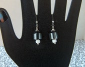 Black and white All Over earrings -  David Christenson Cane Glass with Sterling Silver