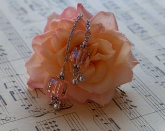Simply Elegent -peach Swarovski crystal  earrings - wedding, prom, party, or special occasion