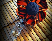 tiger stripes flower ID badge reel kanzashi