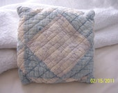 Vintage Quilt Pillow - Shades of Faded Blue and White - Very sweet