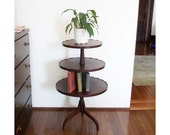 Antique 3 Tier Round Butlers / Pastry / Pie Crust / Display Table Stand - Oak Hardwood Veneer