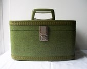 RESERVED for D Barron untill 4/16 - Vintage Green Travel Smart Train Case - For your travels (or) great storage for crafts or cosmetics