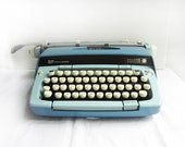 Vintage Smith Corona Galaxie Twelve Portable Manual Typewriter with Original Case - Two Tone Blue