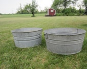 Two Vintage Galvanized Wash Tub Rustic Outdoor Wedding Party Great to fill with ice and drinks Anti Wedge G & P F 3