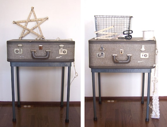 Pair of Gray Vintage Suitcase Nightstands / End Tables / Side