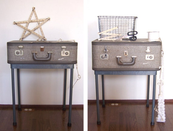 pair of gray vintage suitcase nightstands end tables side