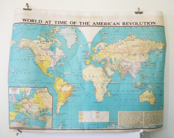 Large Colorful Vintage School Map World at Time of The American Revolution/ The Greater United States- Modern School Supply Co, Inc