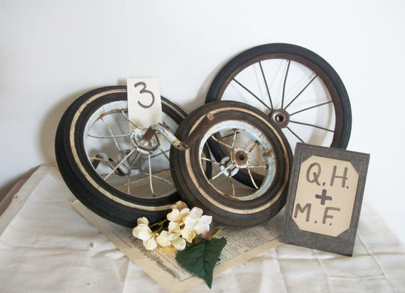 Vintage Tricycle Wheels : Three vintage tricycle wheels rustic outdoor by theeletterq