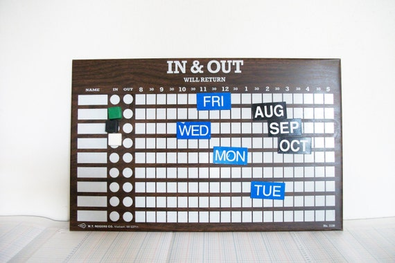 Vintage In & Out Magnetic Office Board
