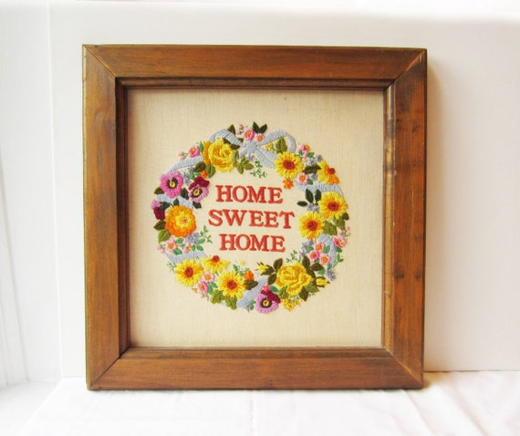 Vintage Home Sweet Home Framed Needlepoint Wall Art by ...
